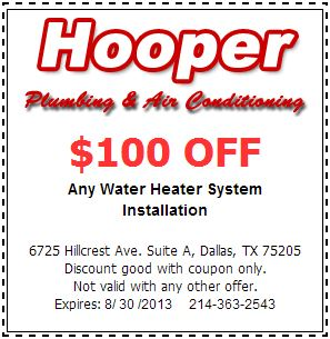 $100 off water heater install